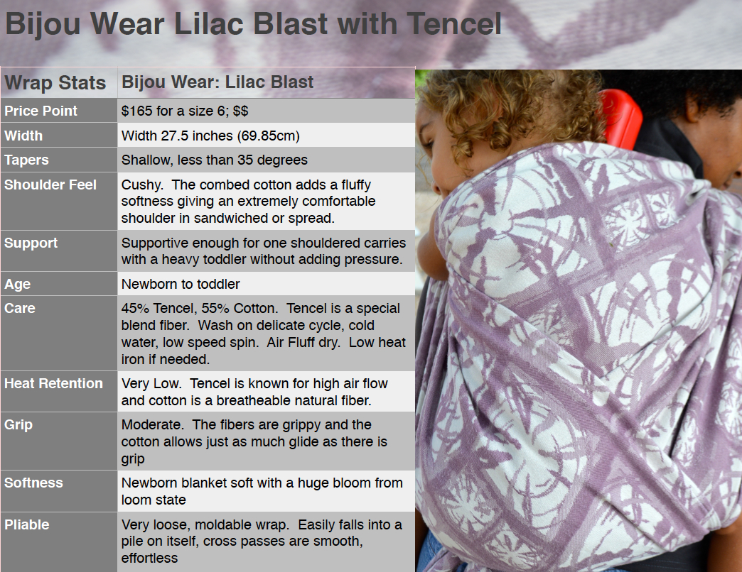 Information graphic outlining the properties of the Lilac Blast Wrap. 165 dollars for a size 6. 27 point 5 inches wide with shallow tapers. Cushy shoulder feel. Supportive enough for one shouldered carries with heavy toddlers. 45 percent Tencel and 55 percent cotton. Special washing instructions include cold wash no heat dry, low heat iron. Moderate grip from natural cotton fibers. Newborn blanket soft. Very loose, pliable wrap with smooth passes.