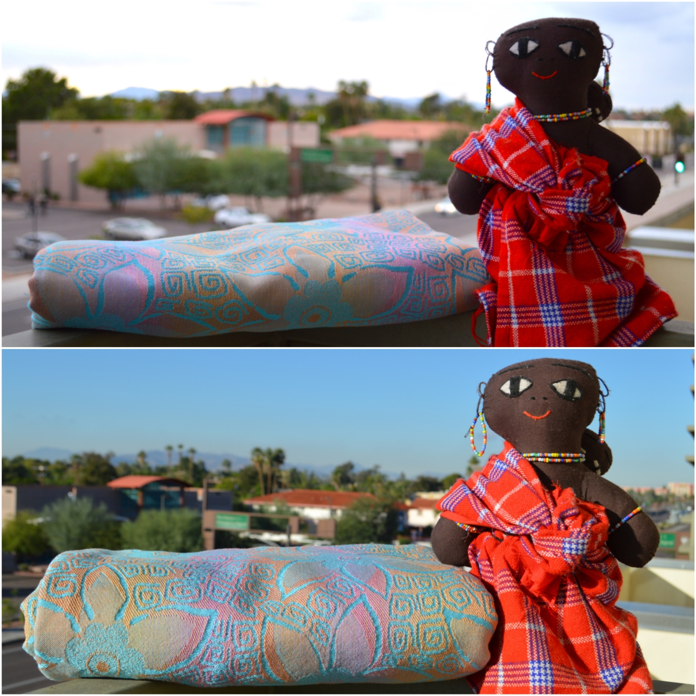 Before and after images of loom state on top and post wash on the bottom. The top image shows the wrap folded and is halfway up the doll's legs. The lower image shows the wrap folded the same way and is now fluffed up to under the doll's arm. The wrap in the lower image is three times the thickness of the wrap in the top image. Babywearing doll stands next to the folded wrap on the right for comparison. The doll is Masai Momma by Toto Wraps and wears red and blue striped plaid Masai flannel dress and beaded necklace with beaded earrings. The doll wears her baby on her back in a wrap the same color.