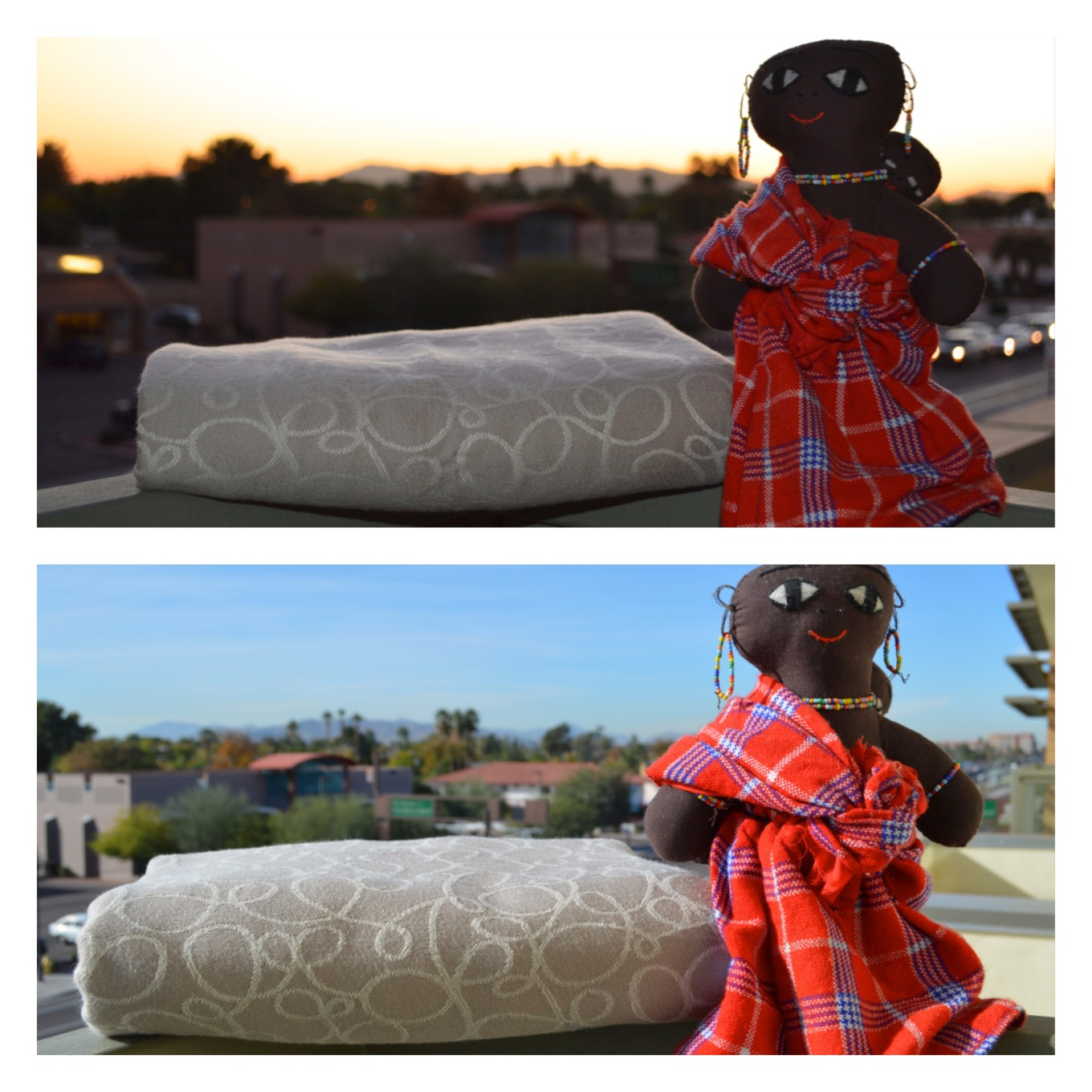 wrap is seen in the evening light with a slight gleam or sheen next to an african Masai babywearing doll an inch below the arm of the doll. The lower image shows the same wrap folded the same after first wash which is now fluffed up to twice as large as before washing such that it is now touching the arm of the African Masai babywearing doll.