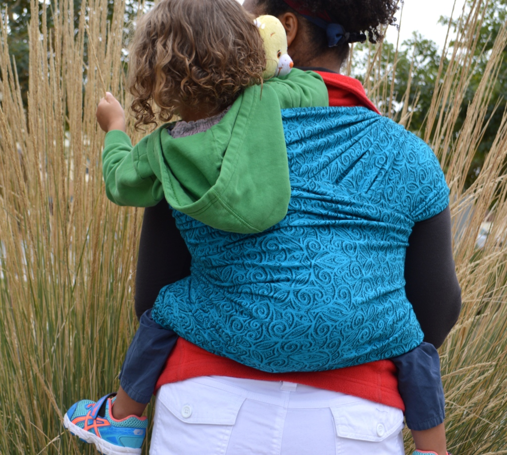 Medium brown Momma with naturally curly hair wears her light brown, blonde, curly haired toddler on her back in a turquoise wrap with repeating small black swirls. Baby is reaching out for the tall grasses in the background.