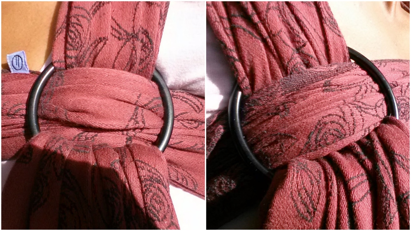 Two images side by side show a medium ring finish and large ring finish on the same wrap. The medium ring fits snugly but the wrap is puckered and tight in the ring. The large ring shows a more even distribution and relaxed fit of the wrap in the ring