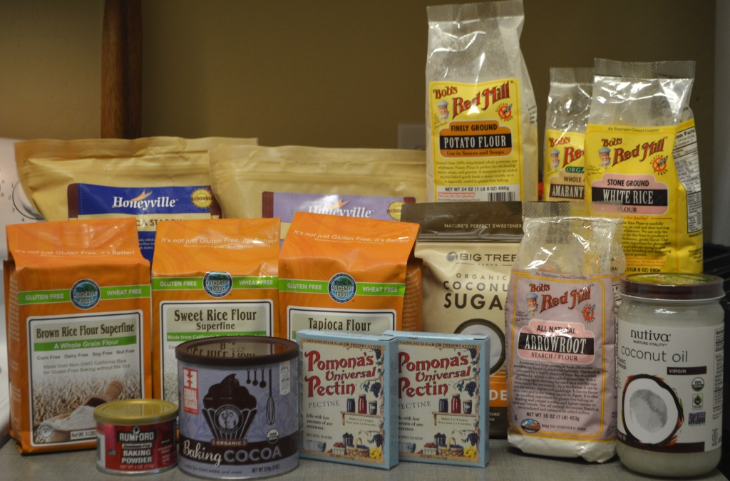 Image is packages of alternative flours, sugars, and gluten free baking products